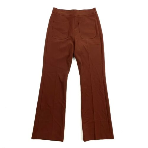 Sandro Stretch Crepe Dress Pants Flared Brown Rus… - image 1