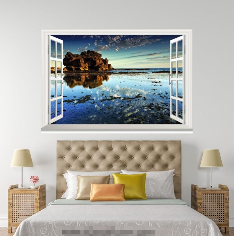 3D Hill Lake 4123 Open Windows WallPaper Murals Wall Print Decal Deco AJ Summer