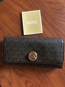 eb64fe20a050 Authentic Michael Kors purse wallet brown print, gold logo, new with ...