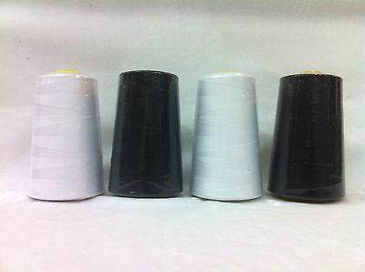 4x Large 5000yds Polyester Overlocking Thread Black