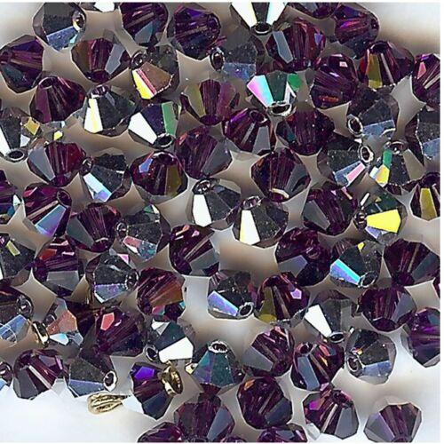 T4 5301 AC *** 30 toupies cristal Swarovski 4mm  AMETHYST CAL comet argent ligh