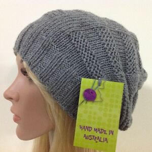 e95bd3e52 Details about HAND KNITTED LADIES SIZE L GREY ARAN EUROPEAN MERINO WOOL  SLOUCHY BEANIE HAT