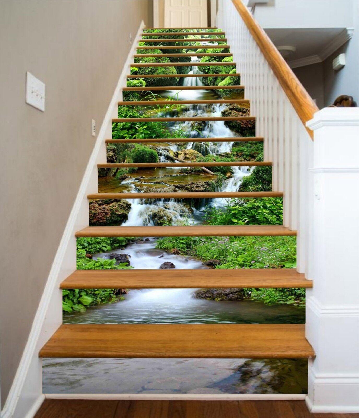 3D rivière Grass 16 contremarches Décoration Photo Murale Autocollant Vinyle Papier Peint US