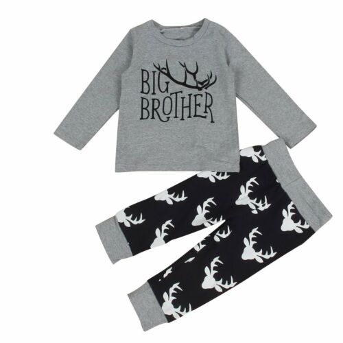 Xmas Kids Baby Boys Clothes Big Little Brother Deer Romper//T-Shirt+Pants Outfits