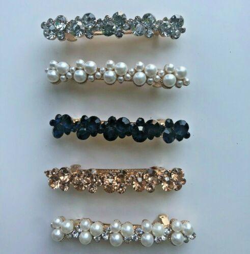 Small Pearl Rhinestone Crystal Barrettes Clear 6.5cm Black Bride Hair Clips