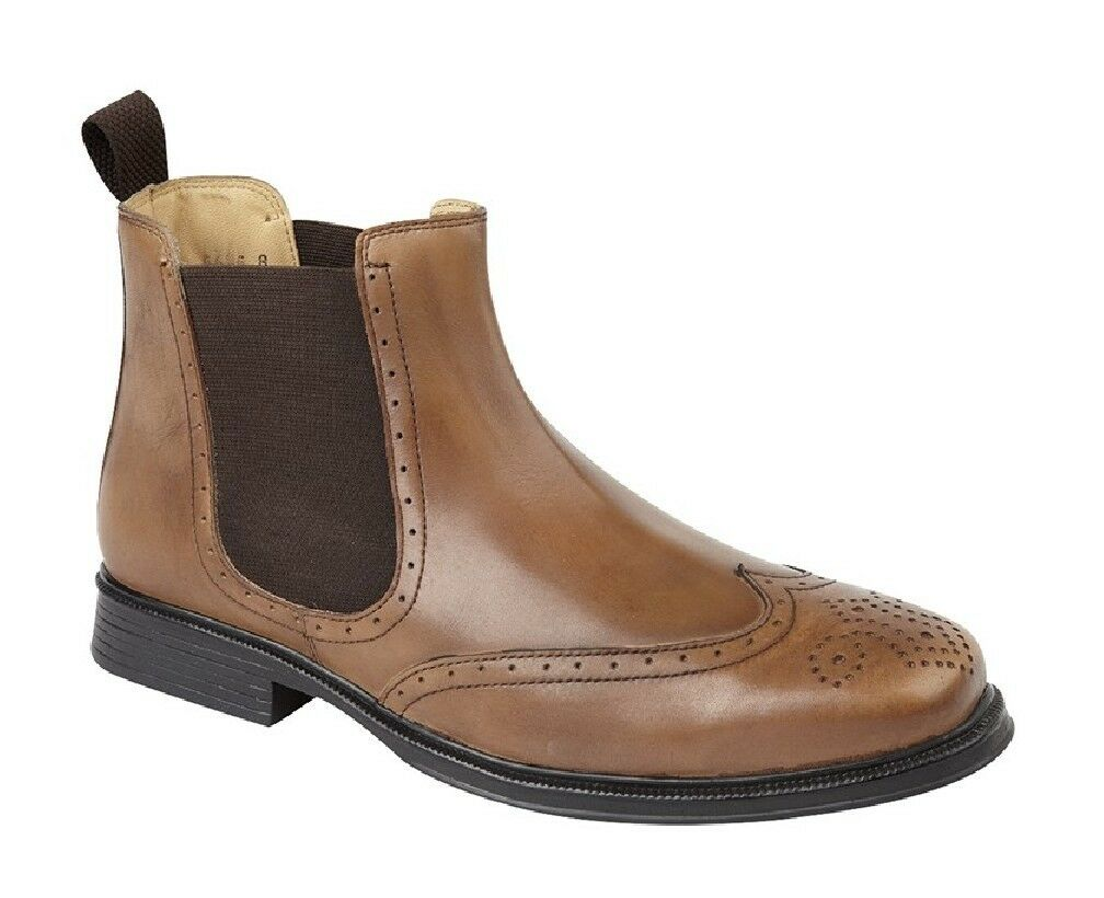 Roamers m362 Leather Loafer Wing Cap Chelsea Dealer Ankle Boots