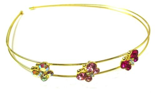 Butterfly Crystal Headband Alice Band Tiara Girls Hair Accessories Pink Gold UK