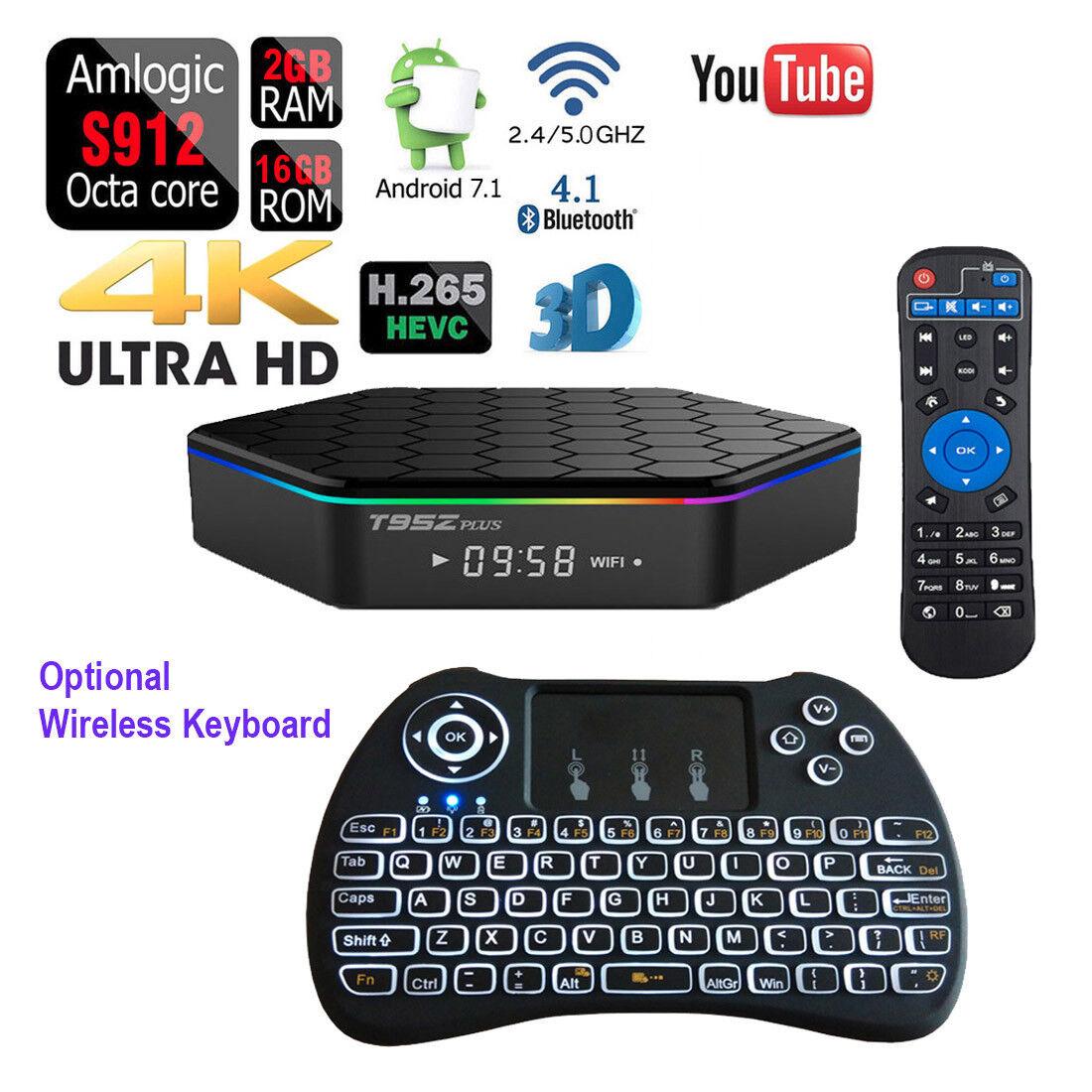 s-l1600 Android 7.1 T95Z PLUS Octa Core 1080p 4K 3D Dual Wifi TV Box+Wireless Keyboard