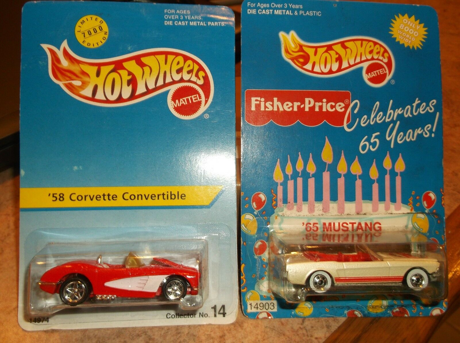 HOT WHEELS LIMITED SPECIAL EDITION LOT OF 2, 58  CORVETTTE & 65 MUSTANG