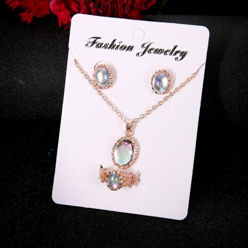 Eg /_3Pcs Elegante Damen Hochzeit Oval Opal Halskette Ring Ohrringe Schmuck-Set