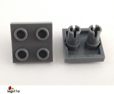 LEGO NEW 2x2 Dark Stone Grey Plate 2 Pins on Bottom 10x 6066952 Brick 15092