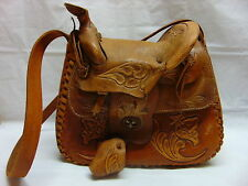 Vintage Western Horse Saddle Purse Shoulder Bag Tooled Leather