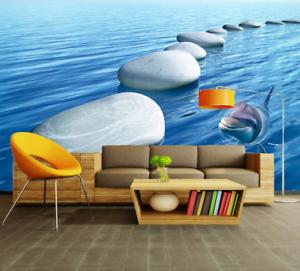 3D Stone Dolphin Sea 7 Wall Paper Murals Wall Print Wall Wallpaper Mural AU Kyra
