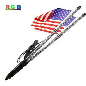 2pcs 5FT//1.5M RGB LED Whip 360° Spiral /& Quick Release Base Remote Control #US*