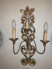 COPPIA APPLIQUES LAMPADE LAMPADA LEGNO INTAGLIATO - Alt. 56 cm  TOP lamp 3 luci