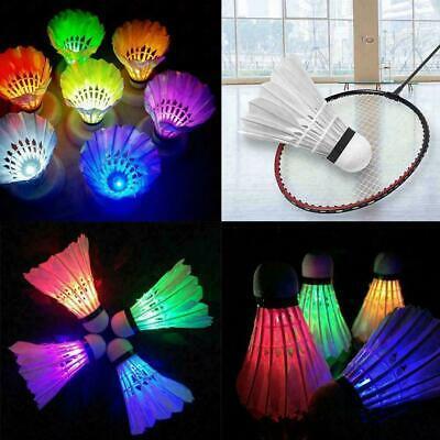 4Pcs//Set Colorful LED Badminton Sport Feather Shuttlecock Badminton A0A5 N8L5