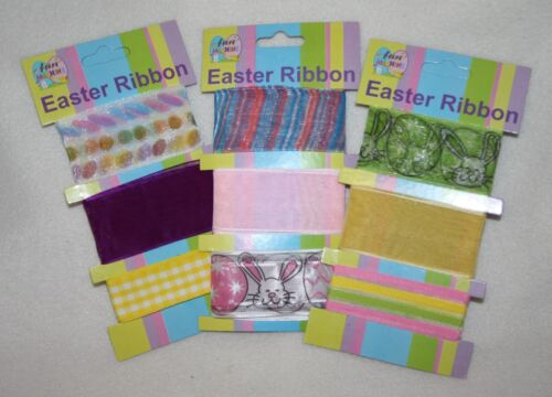 Easter ribbons yellow pink green bonnet parade kids crafts wrapping cards L726