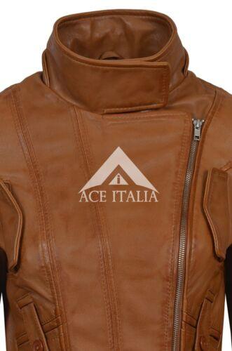 SUPERMODEL Ladies Tan biker Style Real Napa Italian Leather Jacket 4110