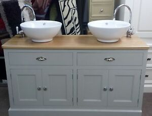 Pine Bathroom Double Sink Unit Cabinet Oak Top Made To