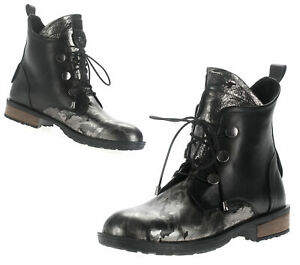 Women-039-s-Boots-Leather-Ankle-Lace-up-Artiker-C858-Black-Silver-36-37-39