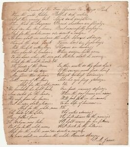 Details About Autograph Signed Poem Lament Of Free Africans For Mungo Park Ca 1820 Manuscript