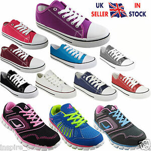 LADIES-WOMENS-LACE-UP-CASUAL-GIRLS-PLIMSOLLS-GYM-FLAT-CANVAS-SHOES-PUMPS-SIZE