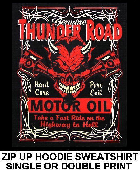THUNDER ROAD MOTOR OIL HIGHWAY HELL OLD SCHOOL DEVIL SKULL ZIP HOODIE SWEATSHIRT
