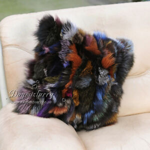 Multi Color Fox Fur Pillow Real Fur Pillow Real Fur Cushion In Carnival Ebay