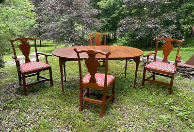 Vintage Eldred Wheeler Hand Made Dining Table 4 Chairs Country Queen Anne Style Ebay