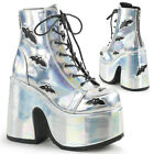 Demonia Gothic Goth Holographic Silver Combat Platform Boot With Bats Back Zip