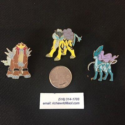 Set of 3 /& Raikou NEW Official Pokemon Pins Suicune Entei Legendary Dogs