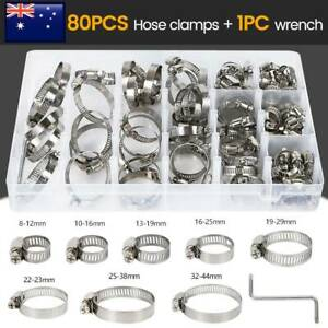 80X-Stainless-Steel-Hose-Clamps-Clips-Adjustable-Range-Worm-Gear-Pipe-Clamp-Kit