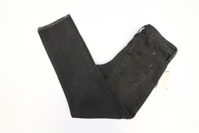 c2f0d6279883 New Universal Thread Womens Black High Rise Straight Leg Frayed Jeans Size 4