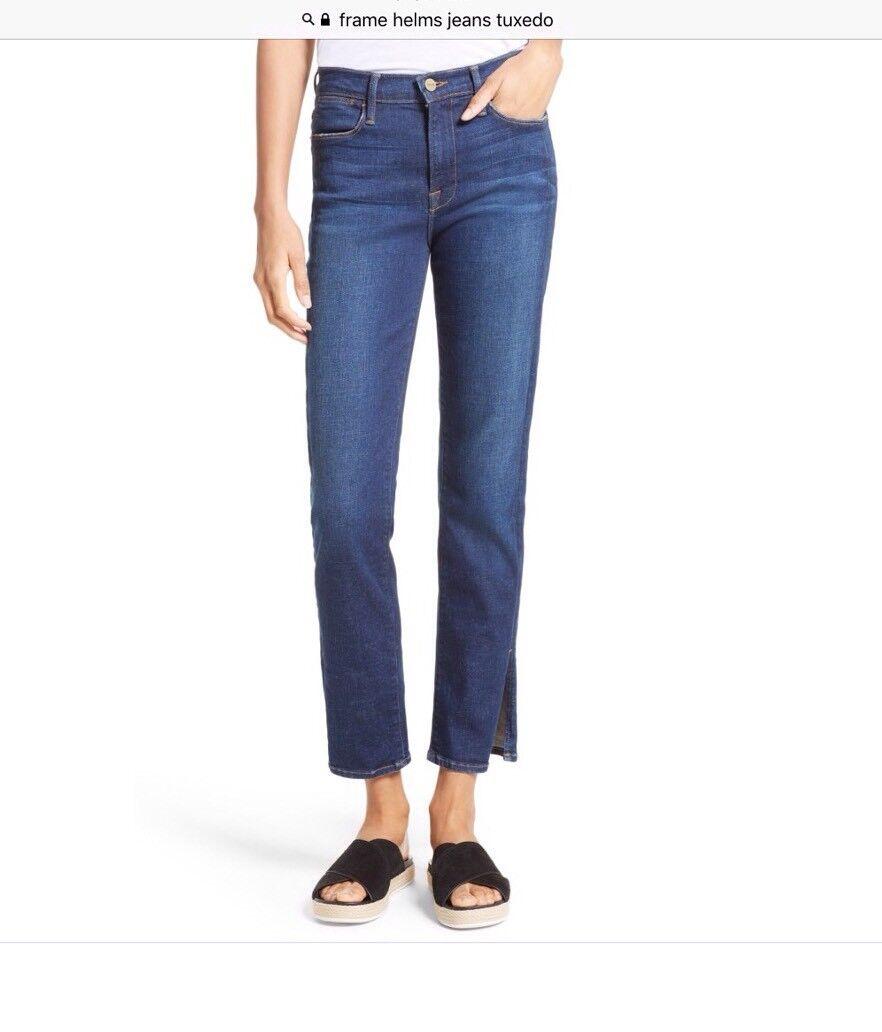 FRAME Denim Womens 29 Le High Straight Tuxedo Split in Helms Jeans EUC