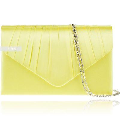 Womens Satin Party Prom Bridal Evening Clutch Hand Bag Purse Envelope Handbag