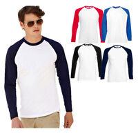 Fruit of the Loom Long  Sleeve Baseball Cotton t-shirt (61028) Sizes S-2XL