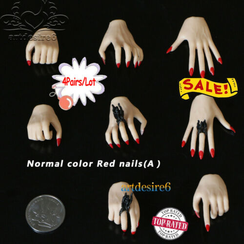 1//6 Scale Female Body Eagle Claw Hand Types Models w// Red Nail Polish Skin Color