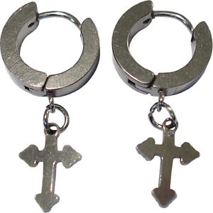 Silver-Cross-Stud-Earrings-Mens-Womens-Ladies-Girls-Tiny-Small-Hoop-Huggie-Studs