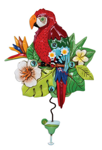 Beautiful POLLY PARROT Turtle Designer Wall Clock by Allen Designs