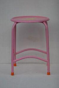 """Furniture Rare Vintage 16.1/2"""" Pink Metal Stool Antiques"""