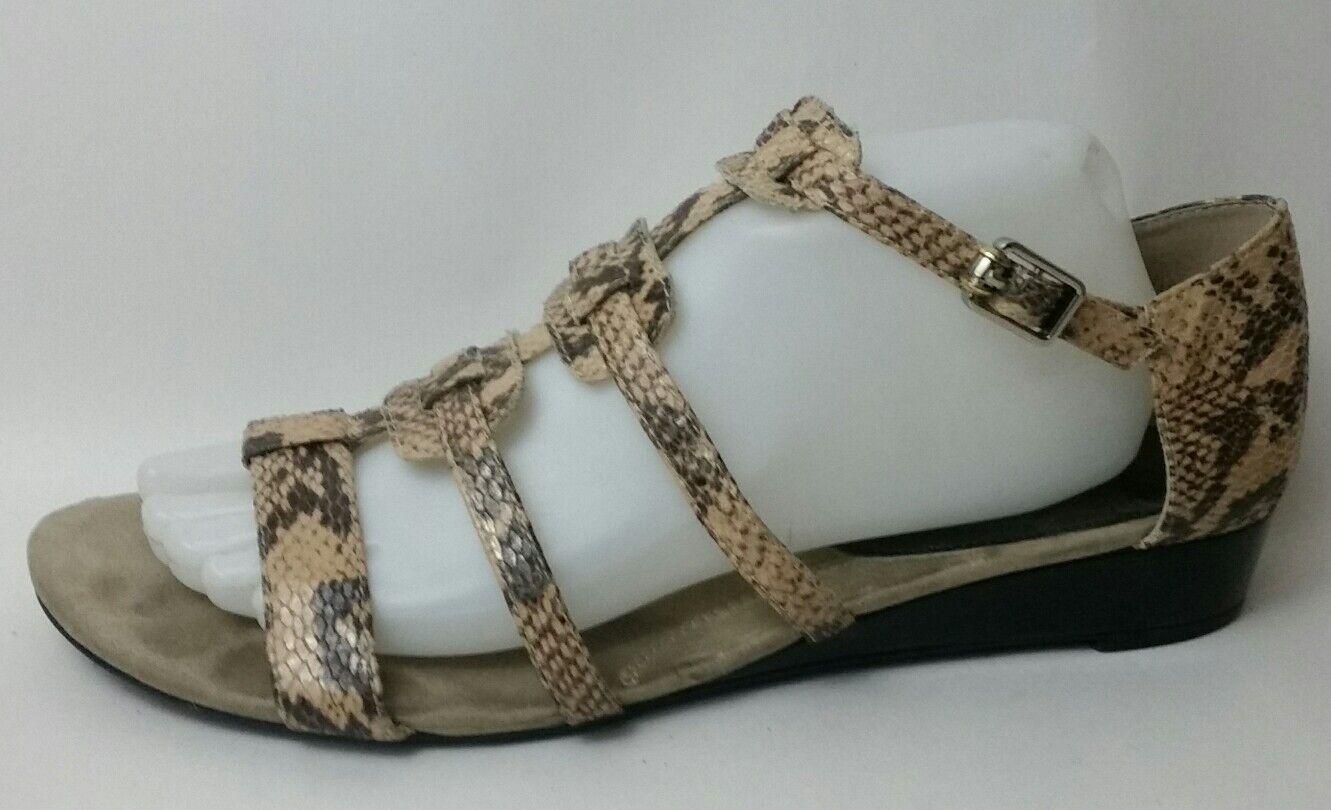 Ellen Tracy Womens 10 M Open Toe Ankle Strap Gladiator Sandals Beige shoes Snake