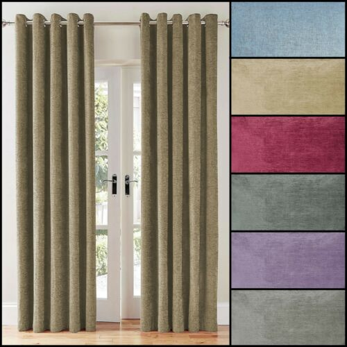 Sara Premium Quality Lined Chenille Ring TopEyelet Curtains Pair 7 Colours