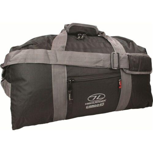 Highlander 45L Litre Black Cargo Holdall Bag Mens Luggage Hiking Travel Camping