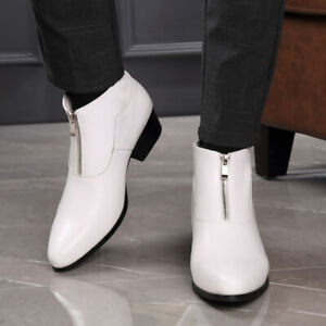 Mens-Ankle-Boots-Pointed-Toe-Leather-Front-Zip-Block-Mid-Heel-Dress-Formal-Shoes
