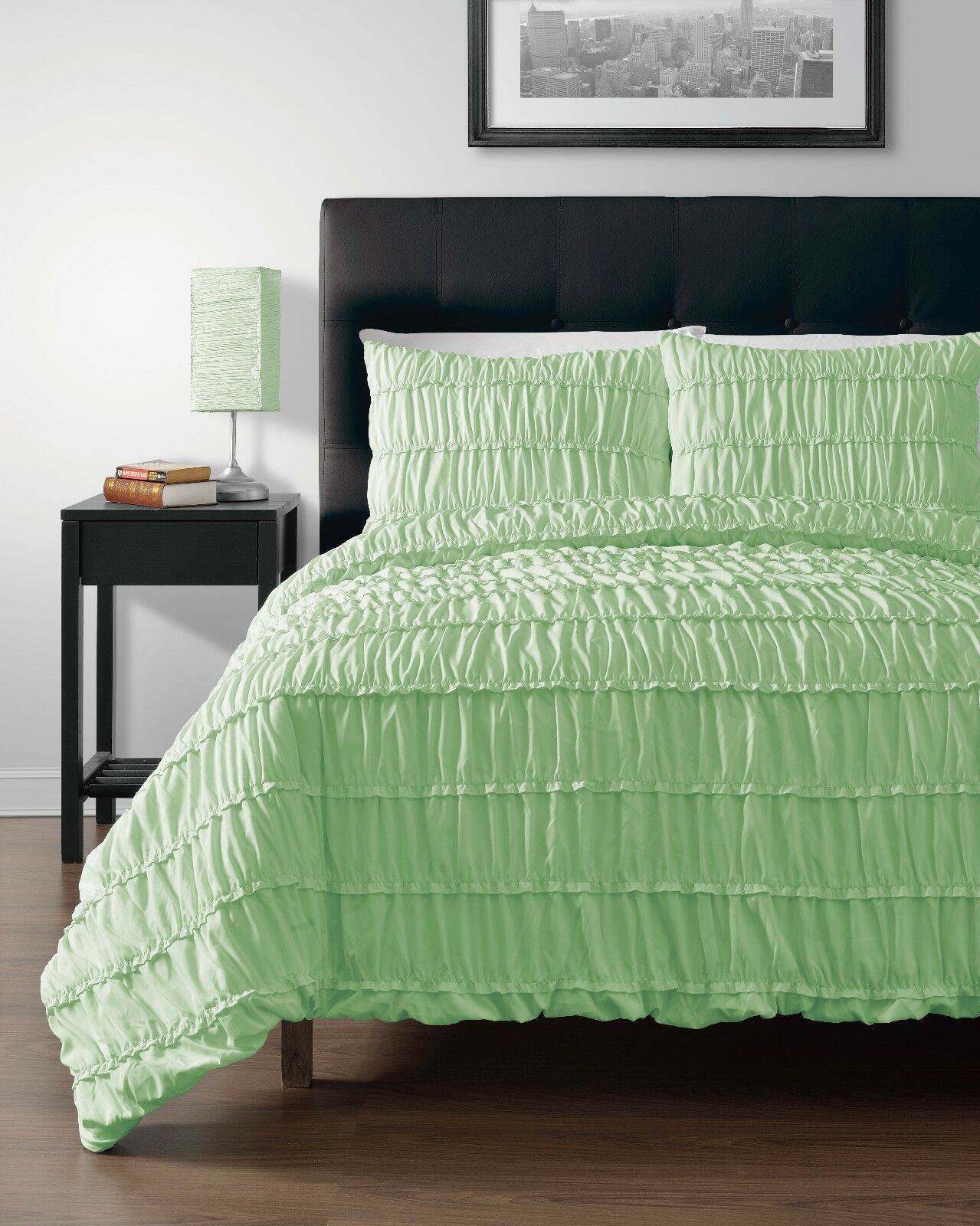Pinzon MINT Green 4pc Duvet Cover Set With Duvet Insert Full Size Bed Cover Set