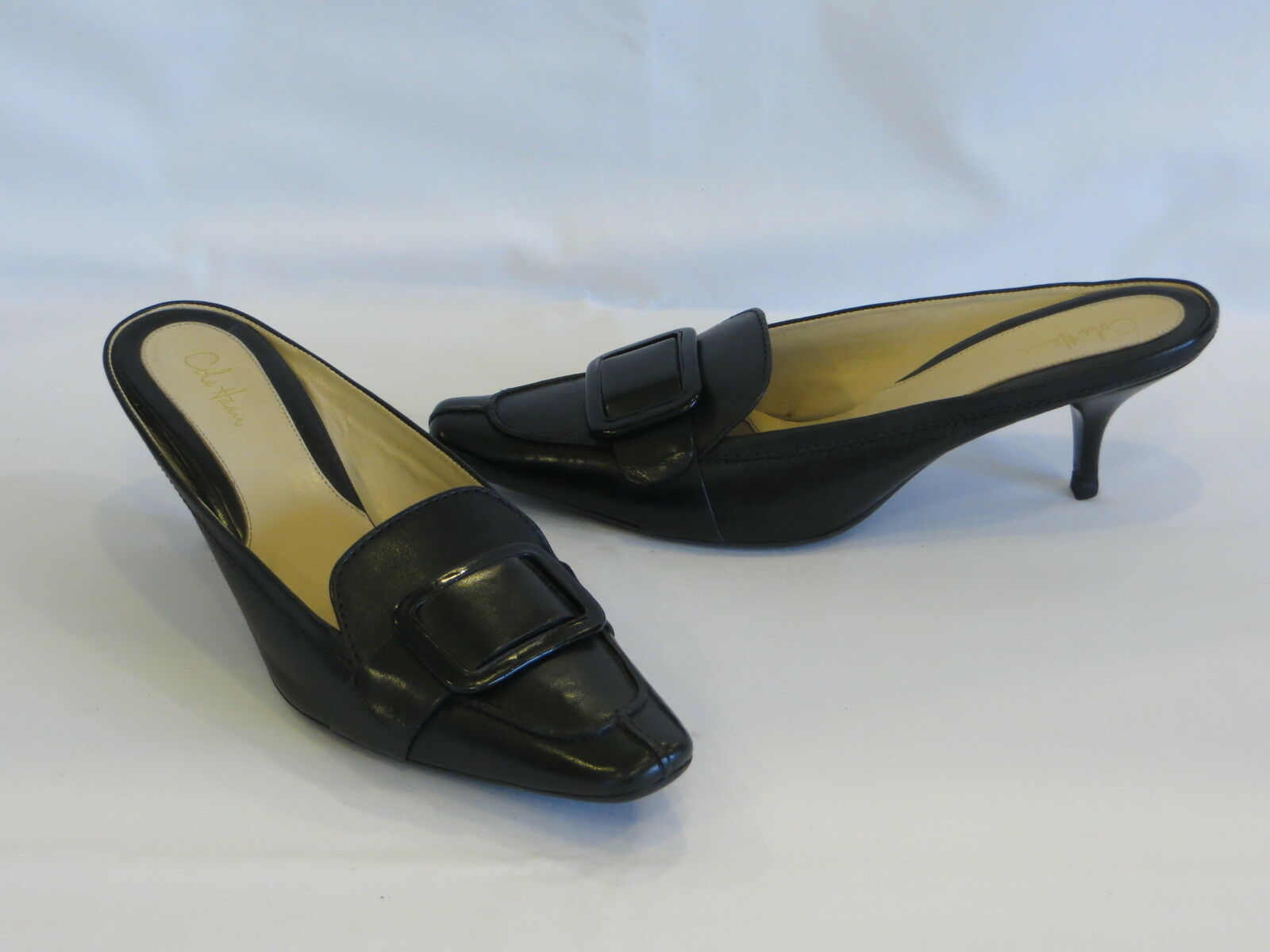 COLE HAAN Black Smooth Leather Pointed Toe Buckle Accent Mules Slides 8M – NEW