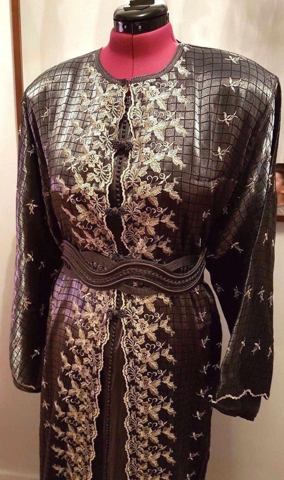 Moroccan Takchita 3 Piece Charcoal Night Dress with Belt