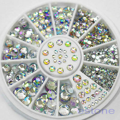 5 Sizes White Rhinestones Mixed Acrylic 3D Nail Art Tip Decoration Glitter Wheel