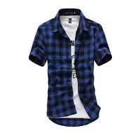 Men's Stylish Plaid Check Short Sleeve Casual Shirt Slim Fit T-Shirt Tee Tops