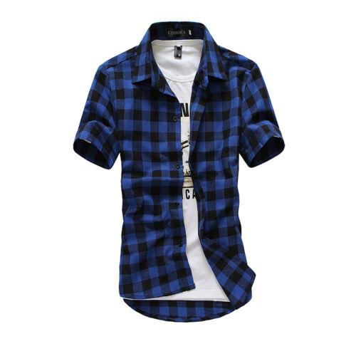 Men Plaid Check Shirt Short Sleeve Slim Fit T-shirt Stylish Office Casual Tops